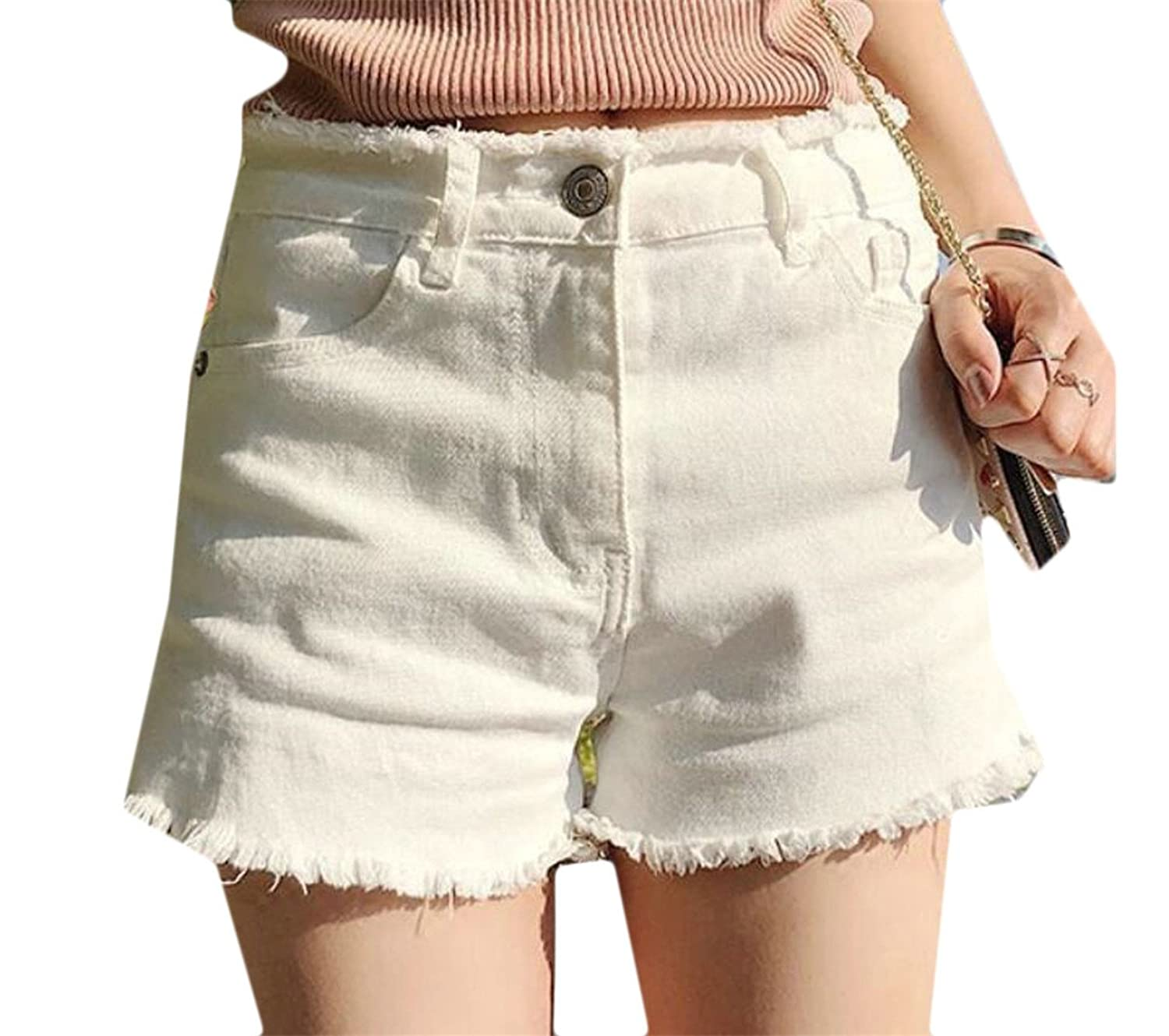 Hot Alion Womens High Waisted Stylish Casual Pure Color Tassel Denim Short for sale