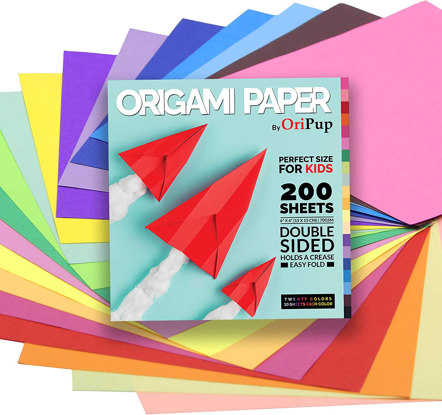 Oripup Origami Paper Double Sided - 200 Sheets in 20 Colors for Crafts - 6x6 inch Colored Square Paper for Kids, Adults and Beginners