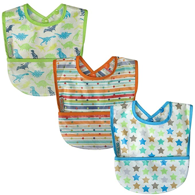 Silly Billyz Organic Cotton Baby Bib 2 x Waterproof Baby Feeding Dribble Bibs