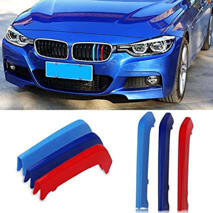 8f6ac1299eec Amazon.com  VANJING M-Colored Stripe Grille Insert Trims for BMW F30  2013-2018 3 Series (8 Beams not Fit 11 Beams) Kidney Grills …  Automotive