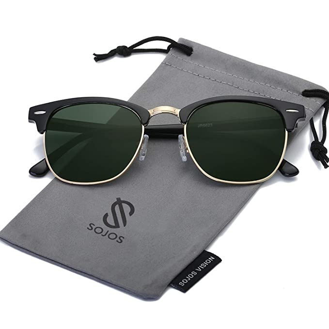 SOJOS Gafas de sol polarizadas sin montura Semi lente transparente SJ5018 Marco Negro/Lente Verde