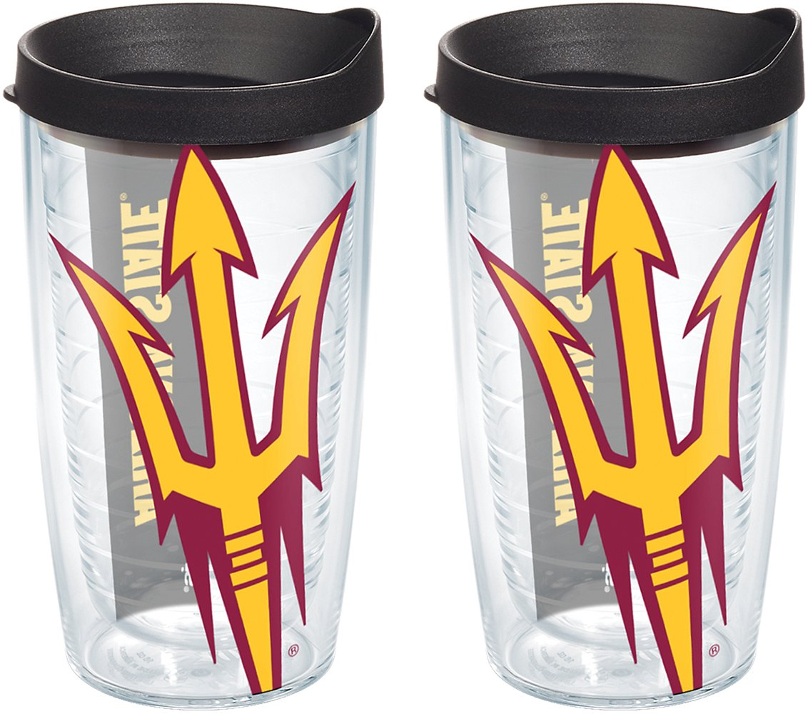 Clear Tervis 1126405 Arizona State Sun Devils Colossal Tumbler with Wrap and Black Lid 2 Pack 16oz