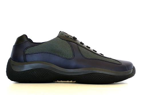 Prada Sneakers Scarpe Uomo in Tessuto e Pelle 4E2043 1OBP F095J Blu  Antracite (42.5 EU d48cde36953