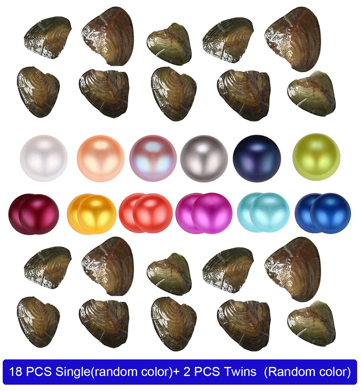 HENGSHENG 20 PCS 6.5-7 mm Freshwater Nearly Round Single and Twins Pearl Oysters Dyed Pearls Random Color