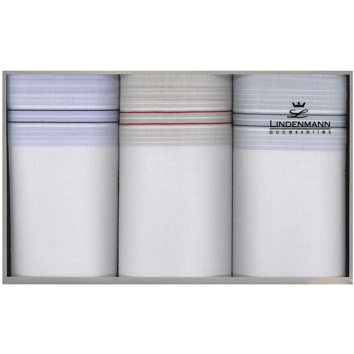 Lindenmann Handkerchiefs for men, 3-pack, white, 50014-001 TAS-6950014-001-LIN