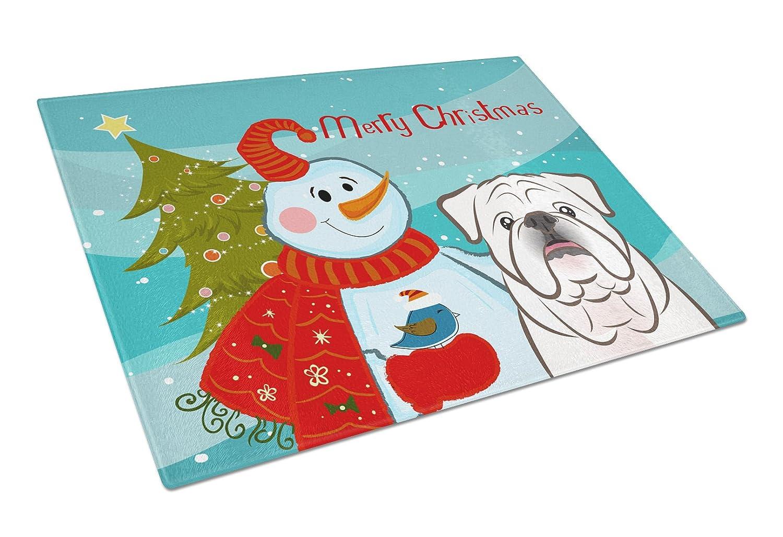 Large Carolines Treasures BB1840LCB Snowman with White English Bulldog Glass Cutting Board Multicolor