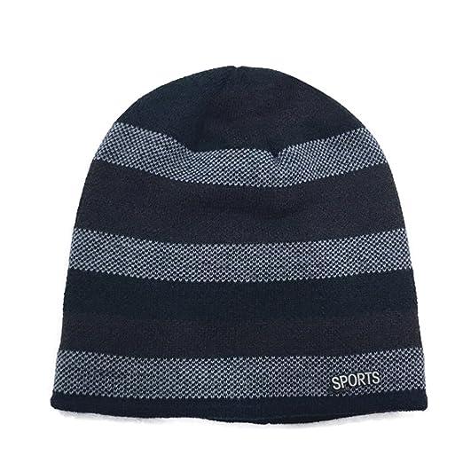 bc0099d8b90 ZX101 Fashion Winter Thicken Beanie Men Stripe Soft Warm Crochet Knitted  Outdoor Hat Double Layer Beanie