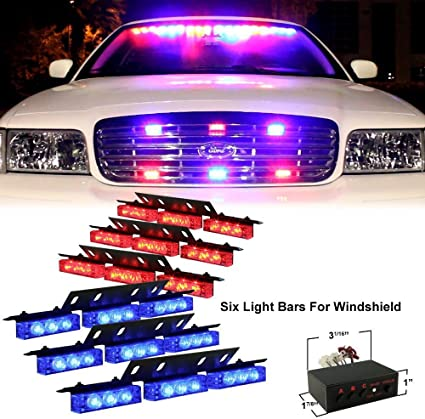 Premium Quality Ultra Bright Blue and Red LED Emergency Warning Use Flashing Strobe Lights Bar for Windshield Dash Grille Zone Tech 54X LED Emergency Warning Strobe Lights Bar