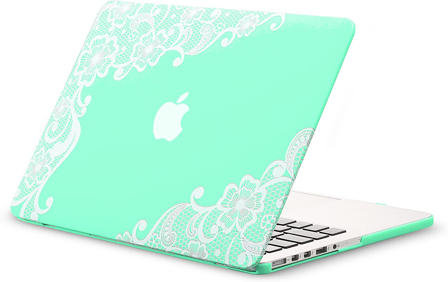 Kuzy - Older Version MacBook Pro 13.3 inch Case (Release 2015-2012) Rubberized Hard Cover for Model A1502 / A1425 with Retina Display Shell Plastic - Lace Mint