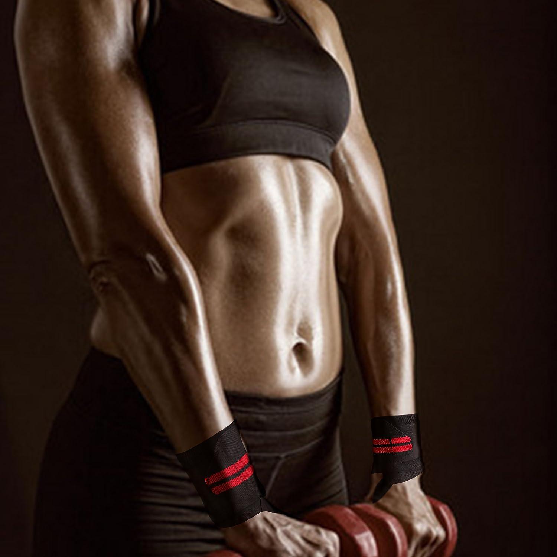 entrenamiento de fuerza entrenamiento cruzado levantamiento de pesas ol/ímpico-Mu/ñequeras para hombres y mujeres Wrist Wraps by Vikaster-18 Grado profesional con lazos para el pulgar de 2.5 Velcro-Fitness fuerte