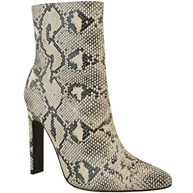 626aadf4c578 Womens Block High Heel Black Croc Ankle Boots Smart Work Office Size Sexy  Size