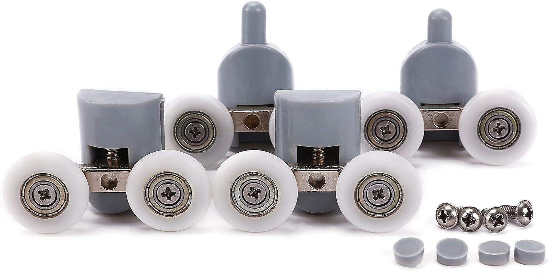 2 Pares 25mm Rodillo Rodamiento (2 Inferiores y 2 Superiores) Reemplazo Recambio Repuesto de Doble Rueda para Puerta de Ducha Puerta Corredera de Ducha Baño + Cojinete de Bolas Color Blanco y