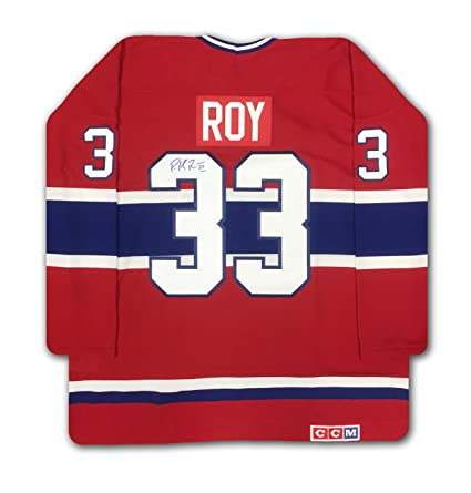 buy online a4451 a2b6f Patrick Roy Autographed Red Montreal Canadiens Jersey at ...