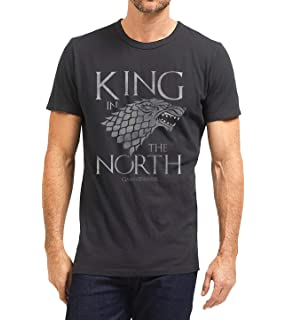 0f3bdb3d9 Game of Thrones Stark King in The North Mens Black Heather T-Shirt