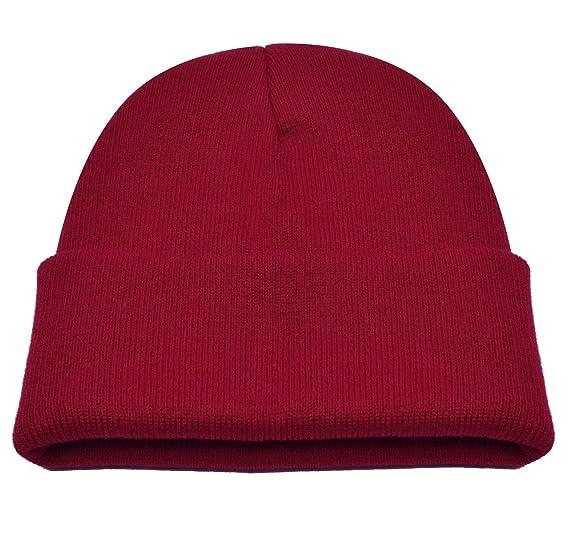 fee08ec11 PZLE Knit Hat USA Sport Winter Hats Red Watch Cap Beanie Red Hat Caps Dark  Red