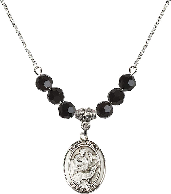 Bonyak Jewelry 18 Inch Rhodium Plated Necklace w// 6mm Jet Birth Month Stone Beads and Saint Jason Charm