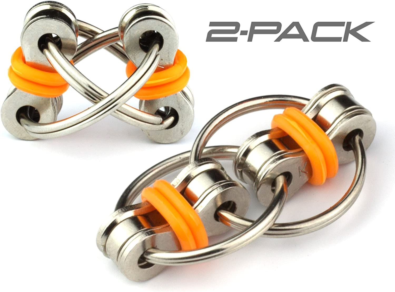 Tom's Fidgets Flippy Chain Fidget Toy Perfect for ADHD, Anxiety, and Autism - Bike Chain Fidget Stress Reducer for Adults and Kids (Orange (2 Pack))