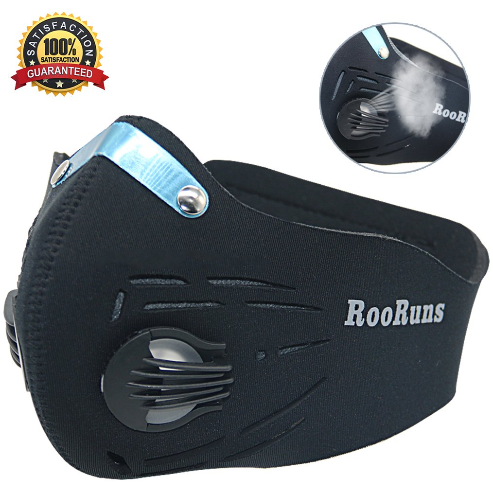RooRuns Dust Mask, Running Mask Activated Carbon Filtration Exhaust Anti Pollen Allergy PM2.5 Dust-proof Mask for Biking, Woodworking, House Decorating and Other Outdoor Activities (Size: L)