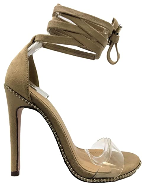 a171b463dd10 Chase   Chloe Gigi-46 Women Tie up Stiletto High Heel Sandals Studs Clear  Strap