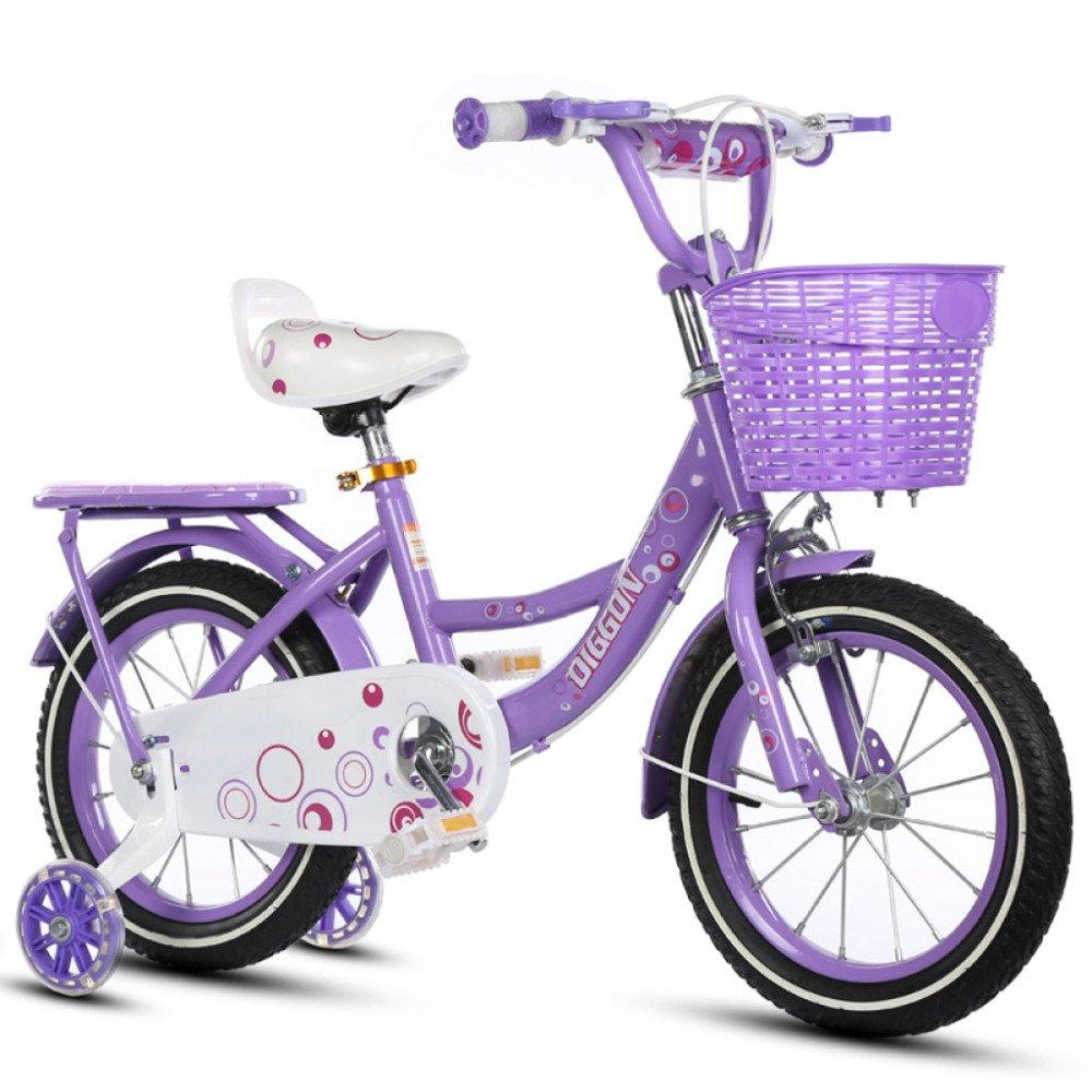 QXmEi子供の自転車高炭素スチールフレーム2 – 3 - 4 , – , 7 , – 8-9 – 10 Years Old Boys and Girls 12 /14 /16 /18インチ自転車withフラッシュトレーニングホイール 12Inches パープル B07DVBD8XF