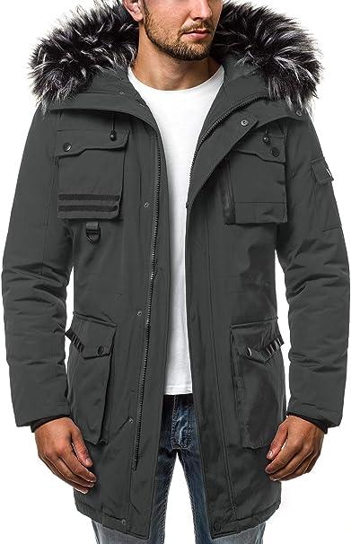OZONEE Herren Winterjacke Parka Jacke Kapuzenjacke Wärmejacke Wintermantel Coat Wärmemantel Warm Modern Täglichen JSHR201808