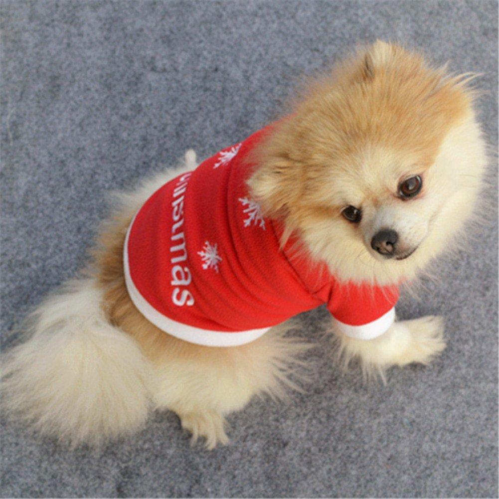 motivo: fiocchi di neve Vikenner Maglioncino per cani colore: rosso. termico e caldo stile natalizio in velluto