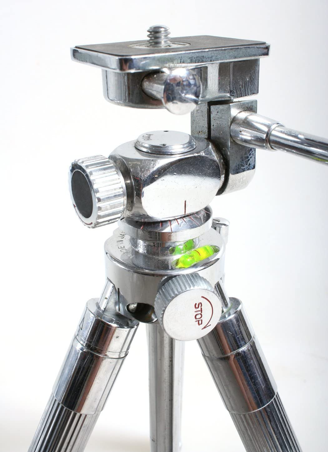 TRIPOD COMPACT CHROME LEVEL//BALL HEAD VINTAGE 1960S 12-48 INCH