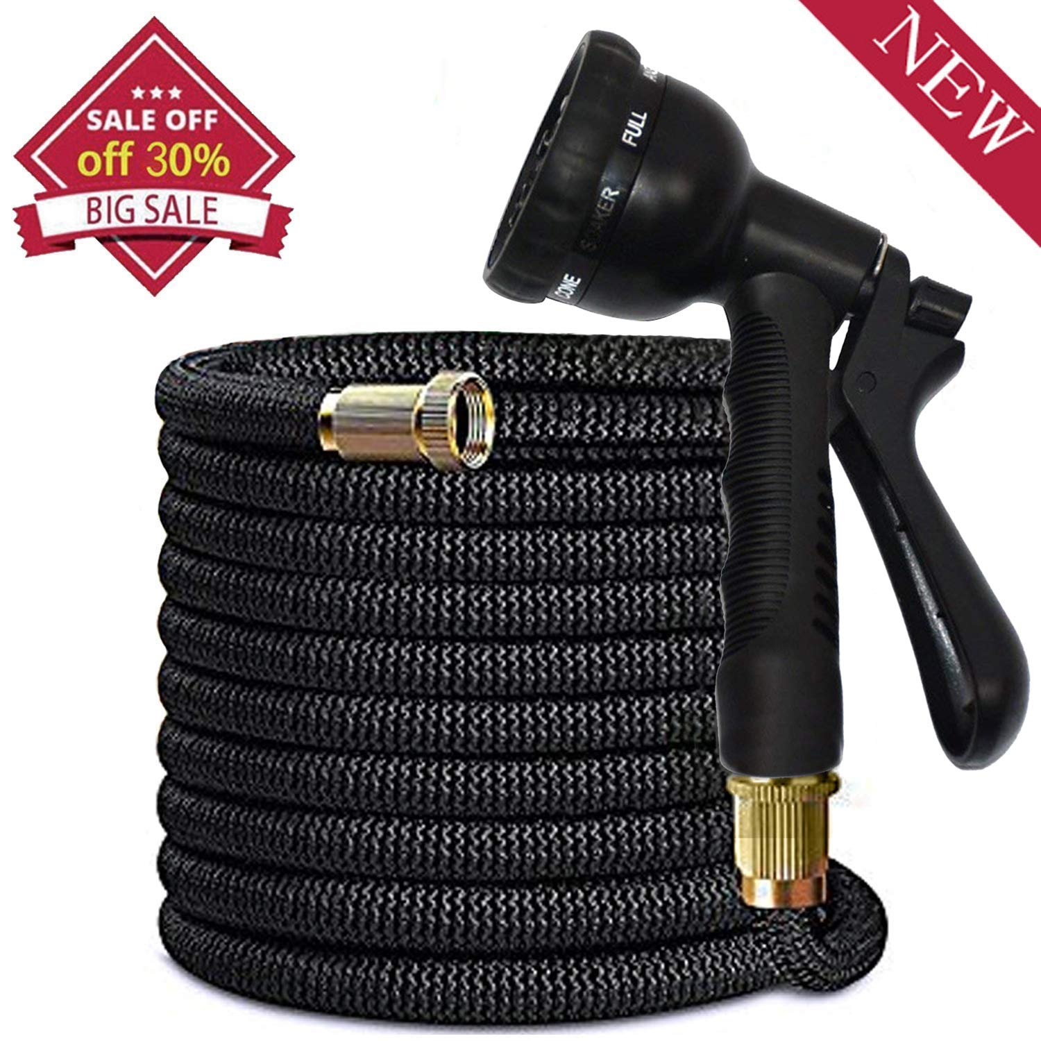 Garden Hose 50ft with Spray Nozzle - 8 Functions Flexible and Expandable Water Hoses with Double Latex Core, 3/4 Solid Brass Fittings Strong Material Wagrass