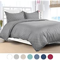 Bedsure Duvet Cover Set w/Zipper Closure-Grey Diamond Pattern