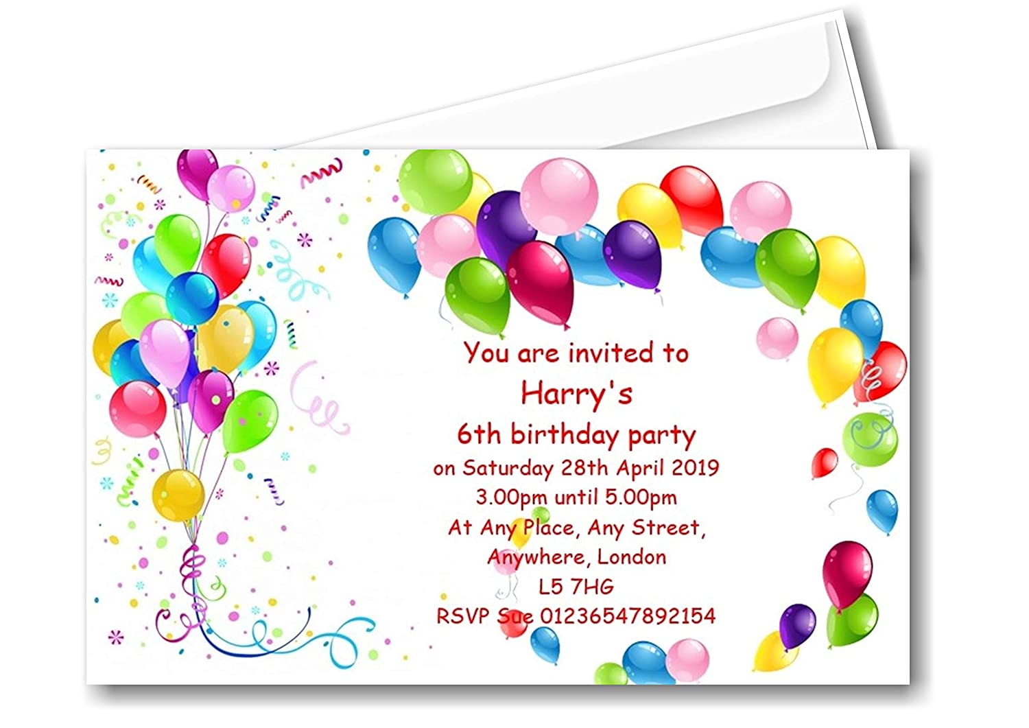 20 Invites 3rd 4th 5th 6th 7th 8th 9th 10th 11th 12th Personalised Colourful Balloon Birthday Party Invitations Complete with envelopes Ref B57 CAN BE Made for Any Age