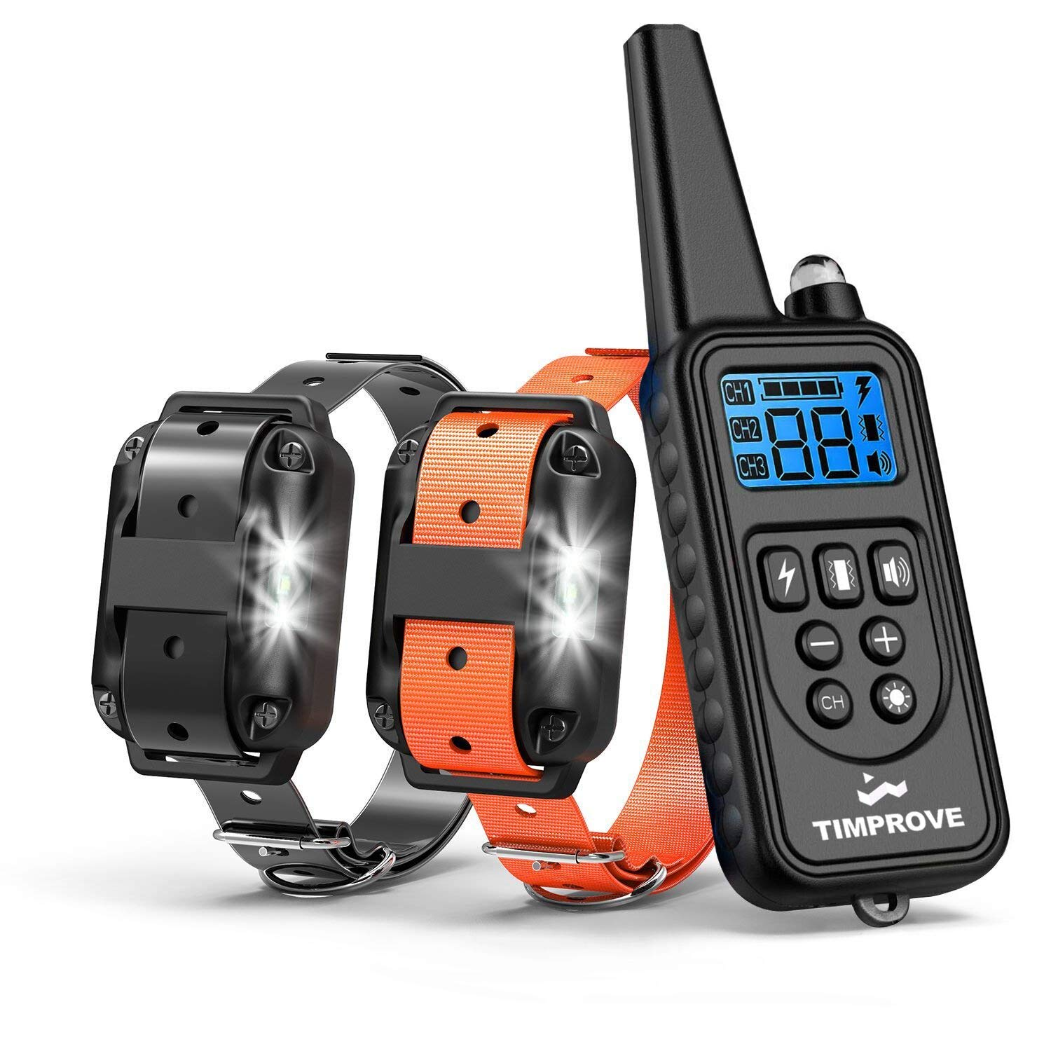 For 2 Dogs TIMPROVE 330 Yards Range Remote Dual Dog Training Collar, Rechargeable and IPX7 Rainproof Dog Shock Collar with Beep, Vibration and Shock, Electric Dog Collar for Puppy, Small, Medium and Large Dogs, 2 Electronic Collar Receivers Included
