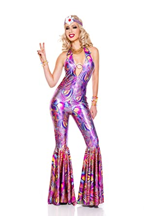 b0d3202a590 Amazon.com  2 PC. Ladies Groovy 70 s Diva Jumpsuit Costume Set  Clothing