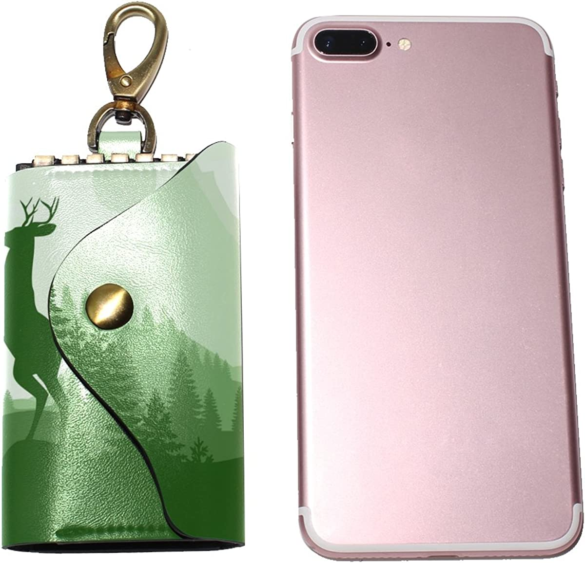 DEYYA Firewatch Deer Leather Key Case Wallets Unisex Keychain Key Holder with 6 Hooks Snap Closure