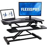 FLEXISPOT 32 inch Standing Desk Converter | Height Adjustable Stand Up Desk Riser, Black Home Office Desk Workstation…