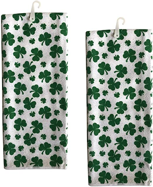Patrick/'s Day Shamrock Polyester Hand Towels 15x25-in Set of 2 w St
