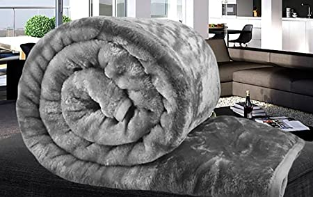 Amber Linen Luxury Charcoal Faux Fur Mink Throw Blanket Soft Warm Thick Bed  Sofa Double King 1858cc0dc