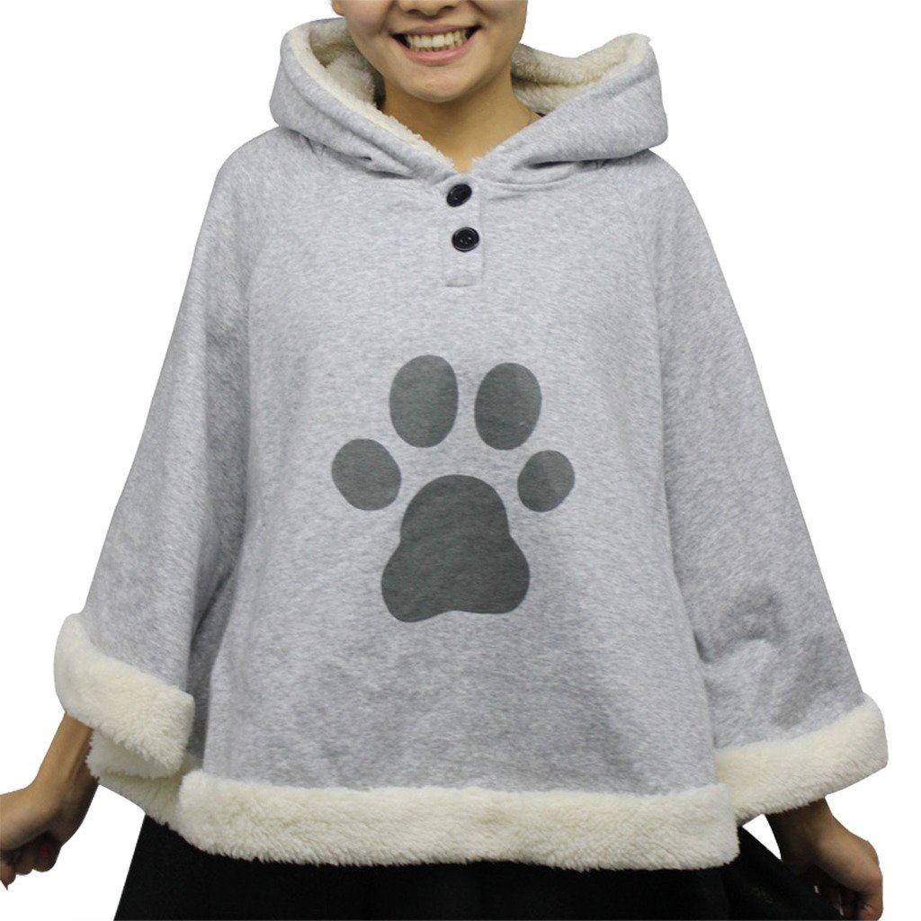 Women's Cartoon Game Cute Cat Sweater Batwing Cape Jacket Cloak Sweatshirt