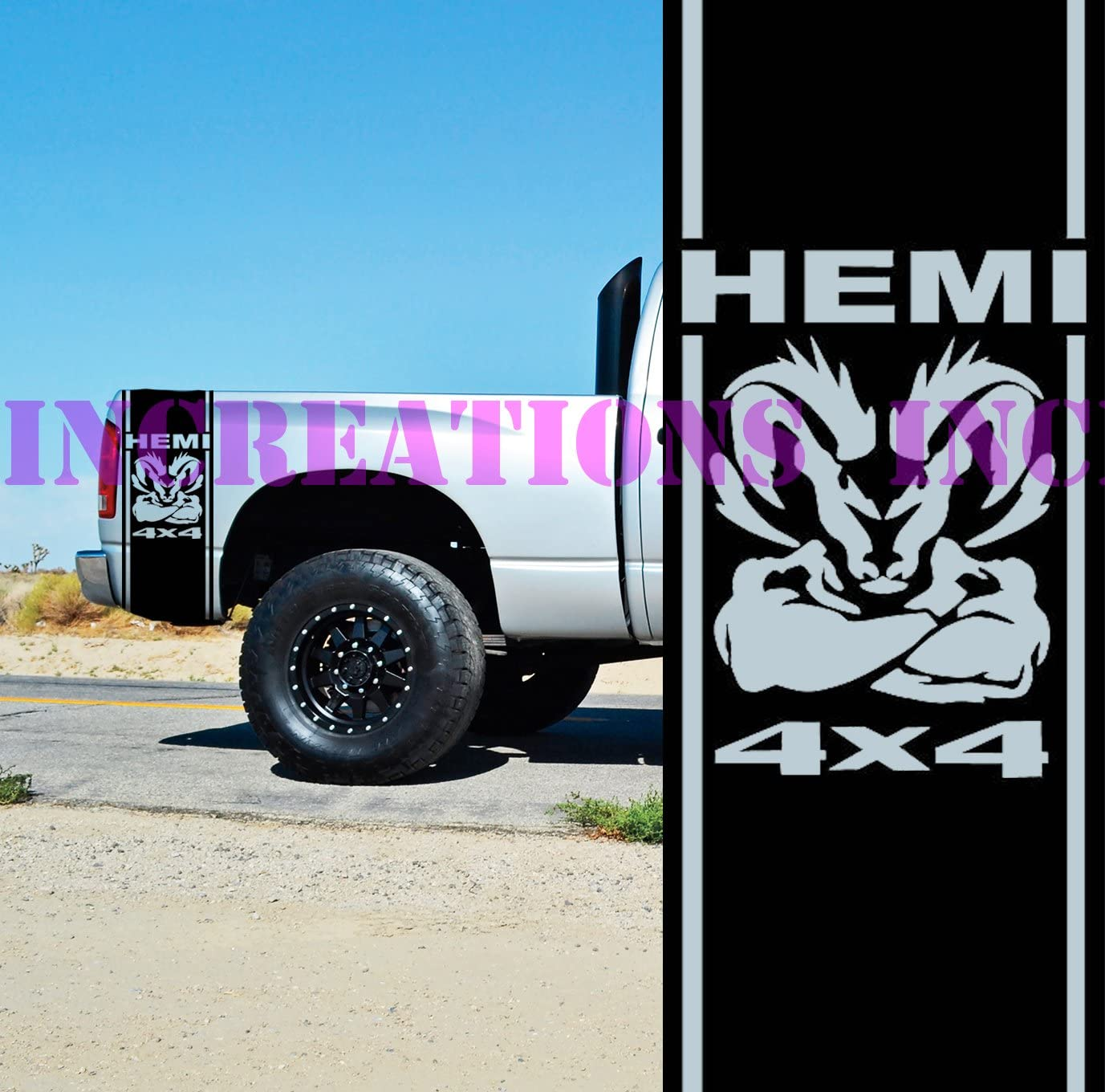 Dodge Ram 1500 2500 3500 Vinyl Decal Racing Sticker Stripe Hemi Mopar 5.7L T-175