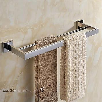 LEODIKA Acabado cromado Barra de toalla doble Barras dobles Suspensión Accesorios de baño de acero inoxidable pulido para toallas: Amazon.es: Bricolaje y ...