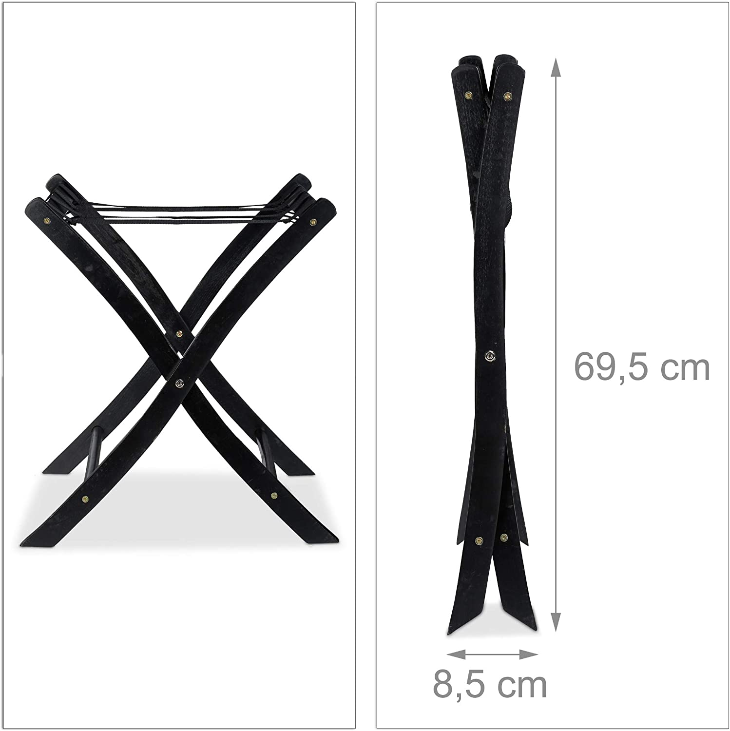 for Travellers Foldable Suitcase Storage Stand Black H x W x D: app Relaxdays Wooden Luggage Rack 52.5 x 66.5 x 48 cm
