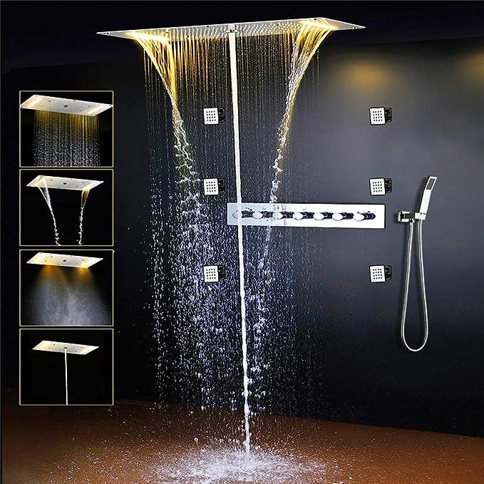 Thermostat Panneau de douche colonne Panneau Syst/ème de douche baignoire bec grande pluie douche For/êt Tropicale douche ronde avec 5 fonctions avec 6 jets de massage