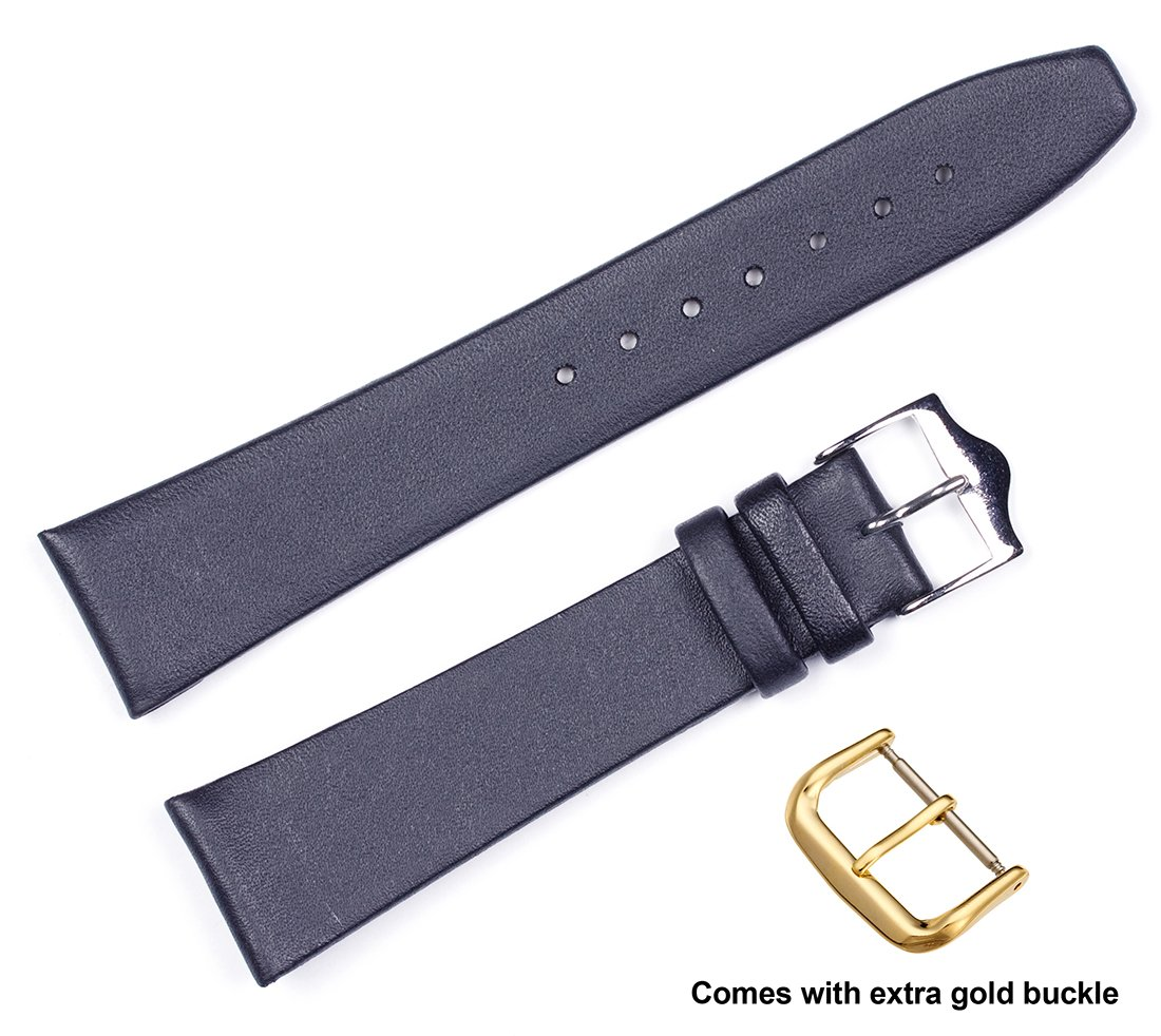 deBeer brand Calf Leather Watch Band (Silver & Gold Buckle) - (flat) Black 18mm