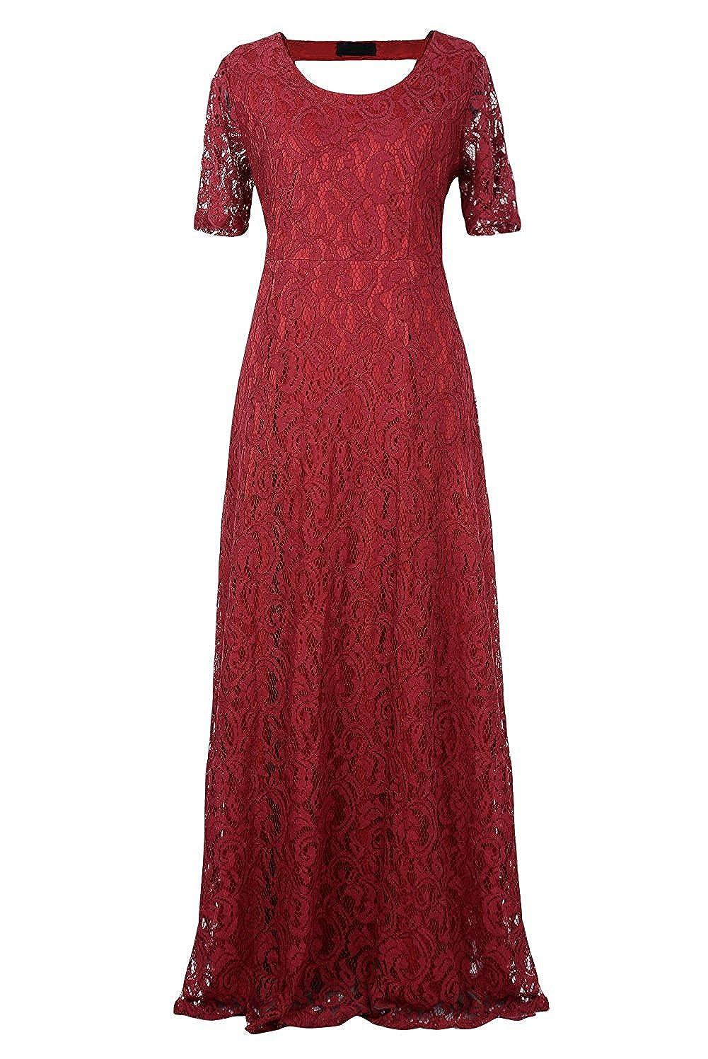 C2U Apprael ReachMe Womens Plus Size Full Lace Wedding Maxi Dress Elegant Gown Party Dresses