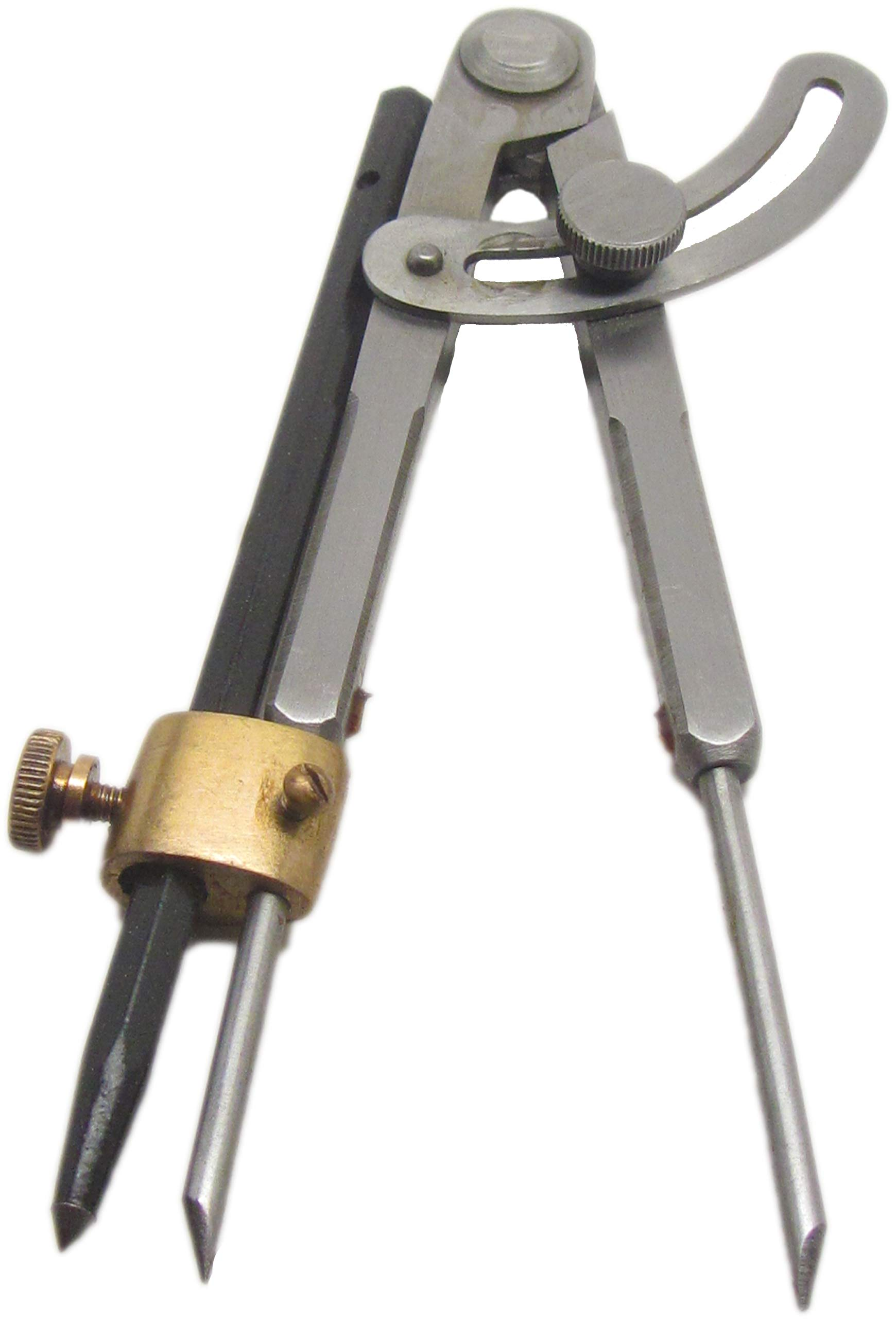 Ramelson 6'' Wing Compass Caliper Divider with Brass Holder with Carbide Scribe, Professional Machinists Metal or Wood Marking Tool