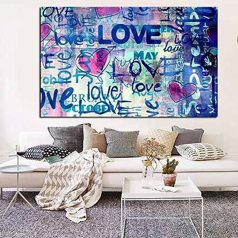 Amazon Com Yjffbh Street Art Graffiti Love Quotes Abstract Oil
