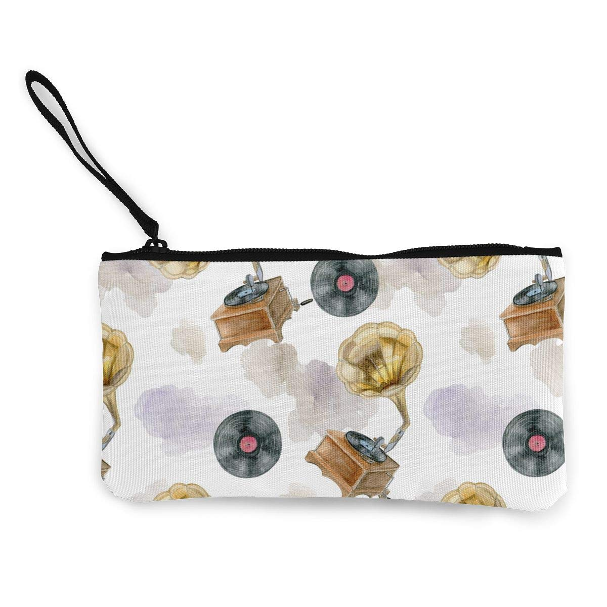 Zipper Small Purse Wallets Womens Canvas Coin Wallet Cellphone Clutch Purse With Wrist Strap Retro Style Pattern
