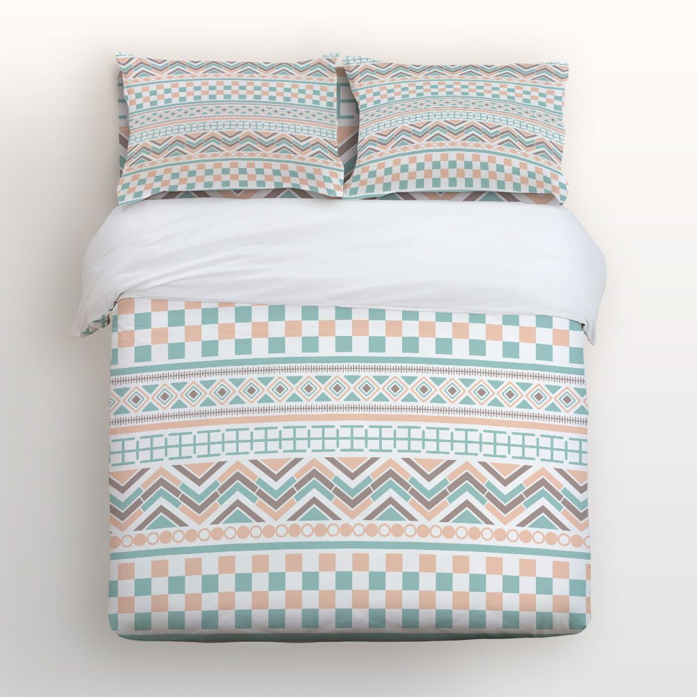 Libaoge 4 Piece Bed Sheets Set, Boho Style Ethnic Tribe Bohemian Stripe Pattern, 1 Flat Sheet 1 Duvet Cover and 2 Pillow Cases