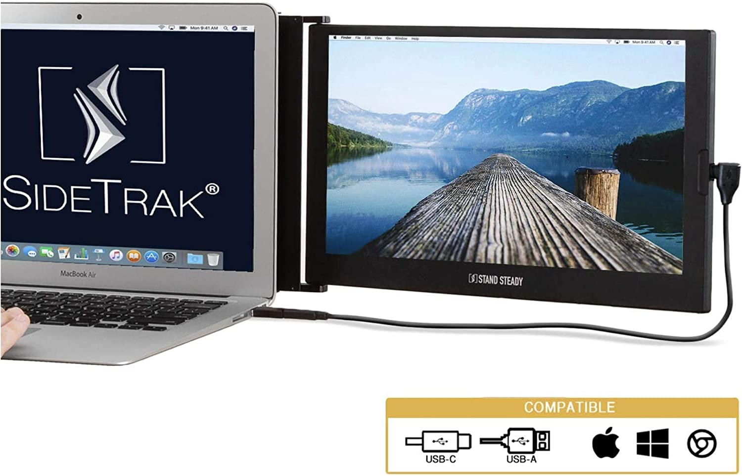 "SideTrak Portable Monitor for Laptop 12.5"" FHD 1080P IPS Attachable Laptop Screen 