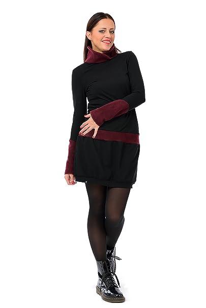 3Elfen Vestido Dama de Invierno Manga Larga/Sudadera Mujer Vestidos, XS Negro borgoña