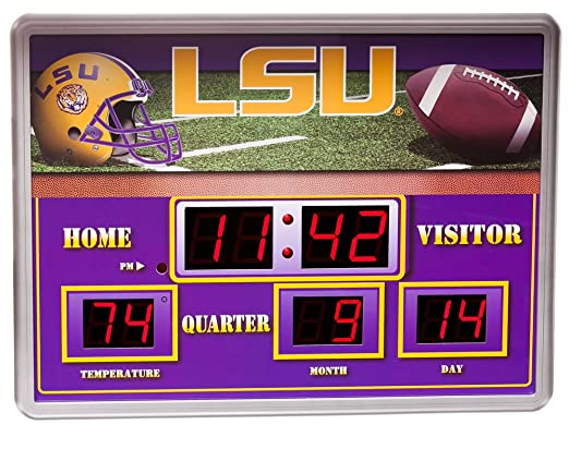 Amazoncom LSU Tigers Football Logo Scoreboard Wall Clock with